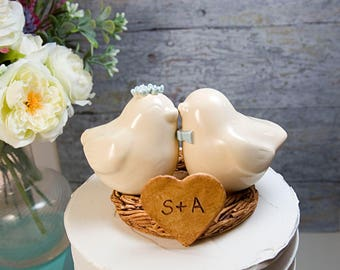 Ivory Love Birds with Matching Flower Crown and Bow Tie
