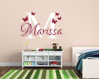 Butterfly Name Decal Wall Decal - Butterfly Wall Decor - Girl Name Decal - Butterfly Decal - Vinyl Wall Decal Nursery Decor Girls Room Decor