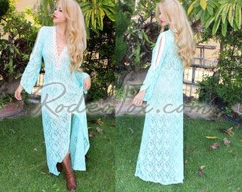 Country Mermaid Mint Crochet Maxi Dress