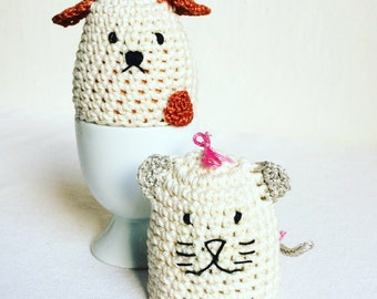 Cat and Dog Egg Warmers - Wedding Gift - Dog Egg Cozy- Cat Egg Cozy - Housewarming Gift - Crochet Dog - Crochet Cat - Gift under 20