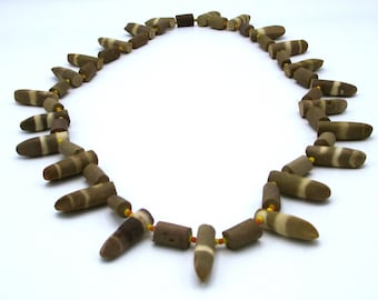 Vintage Sea Urchin Spine Necklace, Brown and Creme Spike Necklace