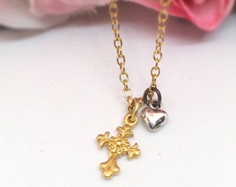 Small Gold Vermeil Cross and Tiny Sterling Silver Heart Heart Necklace, Small Gold Cross Heart Spiritual  Necklace, Mothers Day Gift