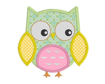 Baby Owl Machine Embroidery Applique Design, Girl's Embroidery, Cute Baby Owl Embroidery Design, 3 Sizes, Instant Download, No: JG00081-4