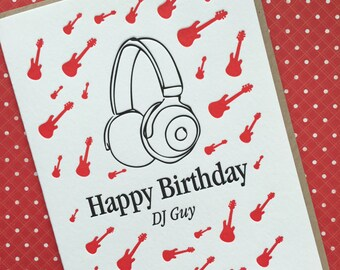 DJ Guy Birthday - letterpress card