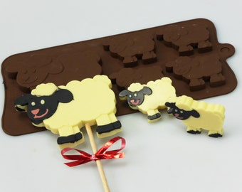 4+1 Sheep Lamb Farm Animal -  Novelty Chocolate Silicone Mould Candy Lolly Cake Topper Silicon Mold - resin / craft / wax / soap