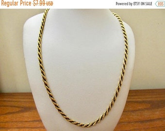 On Sale Vintage Black and Gold Tone Rope Chain Necklace Item K # 1579