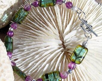 Silver Bracelet, Green and Purple Beads Jewelry B018,Jewelry