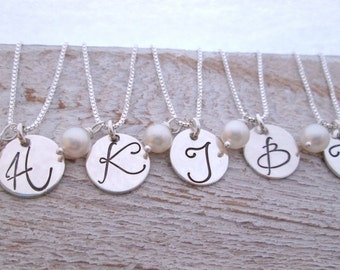 Initial Necklace - Gift for Bridesmaids Jewelry - Bridesmaids Necklaces - Set of 5 -  Silver Disk Necklace - Monogram Necklaces