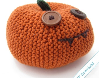 Pumpkin Head Knitting Pattern (Large). Knit Your Own Jackolantern. PDF Download.