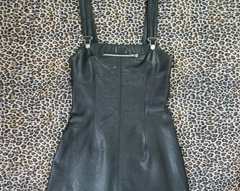 80s Black Leather Overall Mini Dress // S-M // 1980s