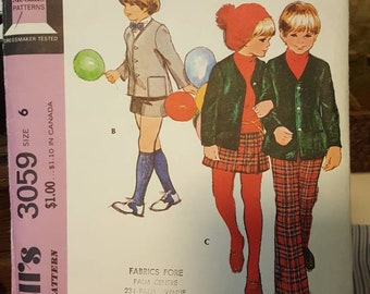 McCall's 9274 size 6 Separates for Boys and Girls jacket pants shorts skirt dated 1971 fall winter