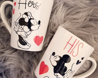 His and hers kissing mickey and minnie mugs/14.5 oz/shipped via priority/write names on backs for no exta charge