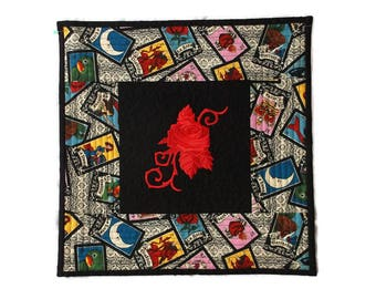 Mexican Loteria Quilt, La Rosa Quilt, Rose Embroidery, Loteria Fabric, Mexican Decor, Mexican Folk Art, Mexican Kitsch, Day of the Dead
