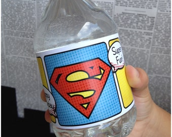 Superhero Collection. Water Bottle Labels. DIGITAL DOWNLOAD. DiY Printable Design. Pinkadot Shop