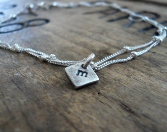 Initially Yours Anklet -  2 strand Sterling Silver Satellite Chain. Oxidized Personalized Monogram Recycled Silver pendant