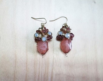 Purple Wired Drop Earrings, Crystal Drop Earrings