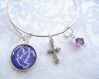 Purple Dove Expandable and Stackable Charm Bracelet with Amethyst Swarovski Crystal and Cross Charm