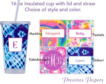 Personalized Tumblers with lid and straw - retro print style tumblers, monogrammed tumblers, beach tumblers, adult sippy cup