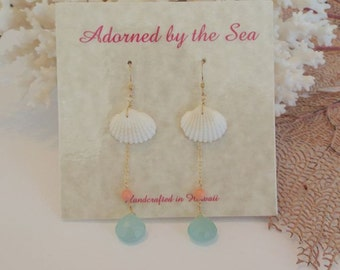 14kt Gold Filled Dangle Earrings with Clam Seashell, Coral, and Seafoam Chalcedony