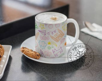 Template for Dye Sublimation or Waterslide 10oz Mugs - Sweets & Things - Commercial Use