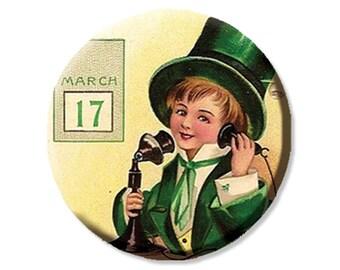 "LIQUIDATION SALE! Vintage Boy Calling on St. Patrick's Day Pocket Mirror, Magnet or Pinback - 2.25"""