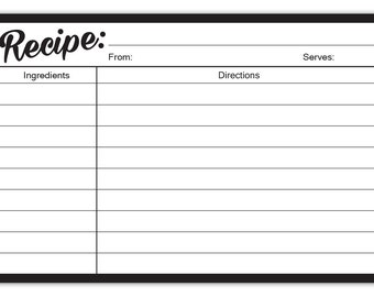 Guajolote Prints Recipe Cards, 4 X 6 Inches, 40 Count, 2 Sided, Black