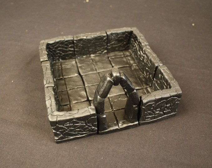 Small Dungeon Magnetized Tile Set (Primed Black) with Hard Corners