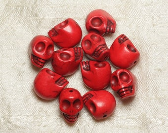 5pc - beads skulls Turquoise 18mm red 4558550025845 skulls