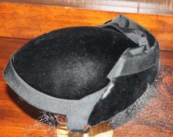 Vintage Black Velvet Hat By Miss Sally Victor