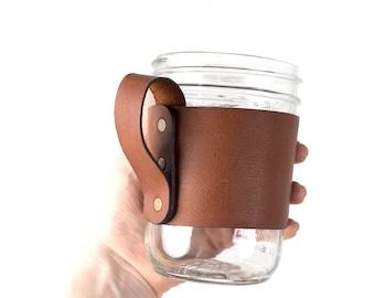 Leather Mason Jar Handle, mason jar holder, mason jar sleeve, leather drinking sleeve, custom mason jar handle, wide mouth pint jar, Kerr