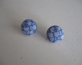 """6/8 """"Rond tissu Floral bleu couvert de boucles d'oreilles"""