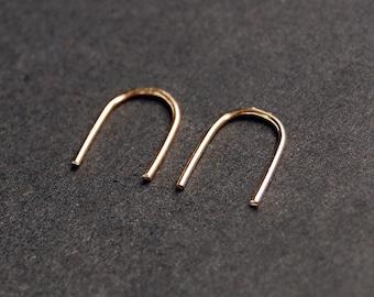 Gold Arc Earrings - gold filled earrings, gold u earrings, minimalist earrings, dainty earrings, open hoop earrings, silver earrings