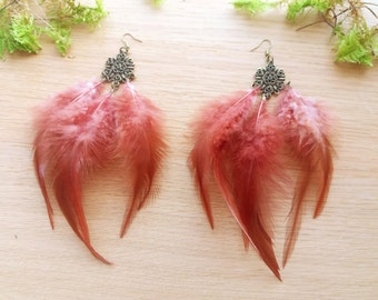 Brown feather earrings Boho earrings Gift for her Hippie earrings Long feather earrings Fluffy earrings Cute earrings Feather jewelry