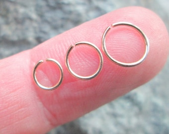 Very Tiny Gold Hoop, Very Small Thin Gold Cartilage Hoop, 4mm 5mm 6mm Gold Helix Hoop, 22 Gauge Gold Filled  6mm 5mm 4mm Piercing