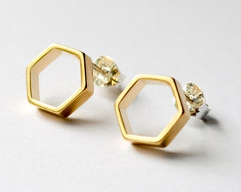 Gold Hexagon Stud Earrings - Geometric Honeycomb Studs - Small Hexagonal Everyday Earings - Honeycomb and Honeybee Jewelry - Bridesmaid Gift