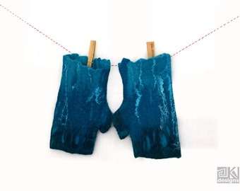 Felted wool, Fingerless gloves, Turquoise and Teal, Turquoise mittens, Blue Felted gloves, Wool hand warmers,Teal Wool gloves,Winter fashion