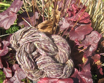 Mini-Skein Art yarn Plum-Brown Fall Leaf Yellow Silk Jacob Wool Singles Thick and Thin 48-yards Worsted Knit Crochet Needle Felt Weave