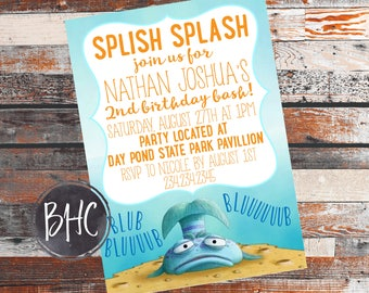 Pout Pout Fish Birthday Party. Pout Pout Fish Invitation. Pout Pout Fish Invite. Fish Birthday Invite. Fish Birthday Invitation. Fish Party.