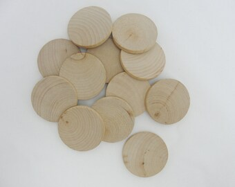 """12 Wood Circles, 1.5 inch wood disc, wooden disk 1 1/2"""" x 3/16"""" thick unfinished DIY"""