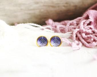 Alhana stud earrings, graphic pattern, purple, gold base 10 mm, Arabian Nights, Women