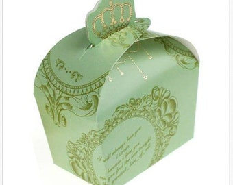 Set of 225 Green Gold Baroque Paper Candy Favor Box