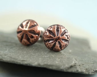 Copper Stud Earrings - Sea Urchin Domes - Everyday Small Earring Posts | Copper Earrings| Copper Jewelry