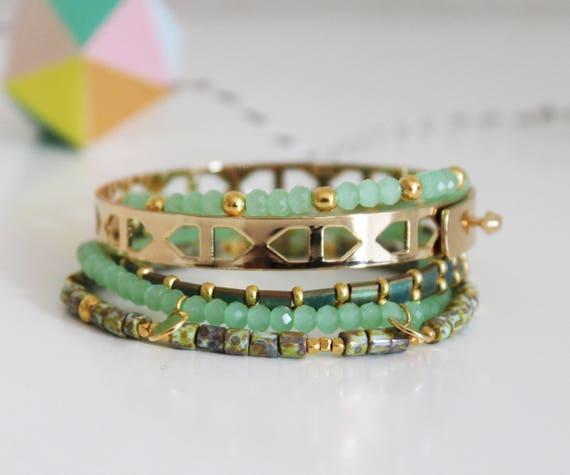 Set of five bracelets, combo of five bracelets, bracelet multi rows, bracelet beads bracelet five rows, women bracelet, mint Green