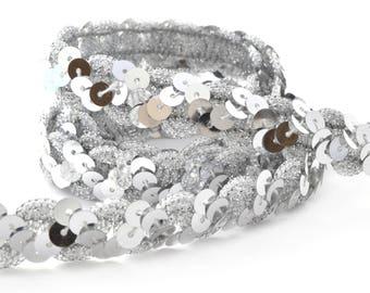 Fancy glitter Ribbon 15 mm silver braid