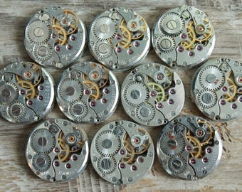 """Set of 10  watch movements 0.6"""" (16 mm) ... Featured ... Steampunk supplies ...  Watch movements for art ... Vintage ... Steampunk Findings"""