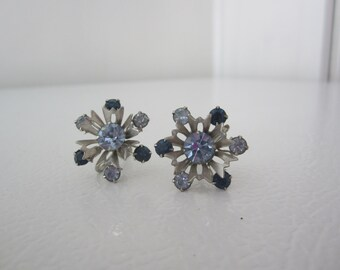 Rhinestone Earrings, Screw Back Earrings, Blue Stone Earrings, 50's Blue Earrings, Blue Vintage Earrings, Blue Earrings, Hollywood Glamour