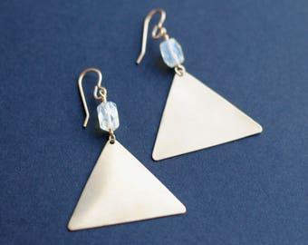 READY TO SHIP // Gold Triangle Dangle Earrings with Lemon Quartz