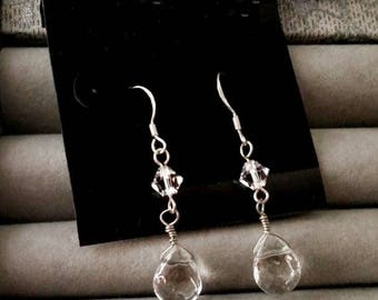 Sale Clear Chinese Crystal Wire Wrapped Teardrop Earrings
