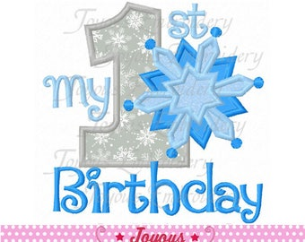 Instant Download My 1st/First Birthday Snowflake Embroidery Applique Design NO:2419