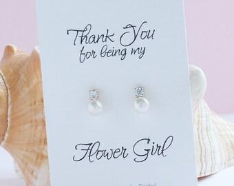 Flower Girl Earrings    Flower girl Thank You Gift     FE415